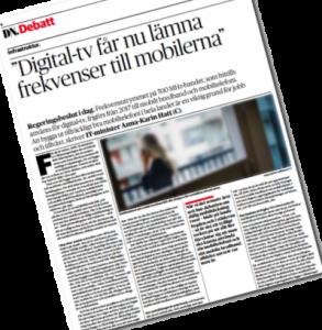 På DN Debatt idag: Digital-tv får nu lämna frekvenser till mobilerna.