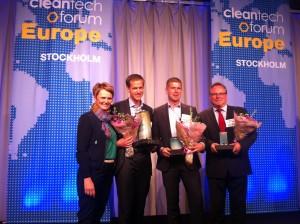 Med de tre finalisterna i Nordic Cleantech Open. Foto: HC Borg